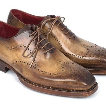 Paul Parkman (FREE Shipping) Goodyear Welted Men's Wingtip Oxfords Antique Olive (ID#87OLV54)