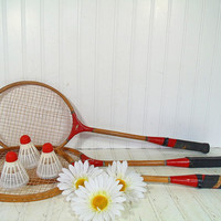 Retro Wooden Badminton Racquets Trio - Vintage Mid Century OutDoor Sports 6 Pieces Set - Repurpose Gameroom Decor - 3 Rackets & Shuttlecocks