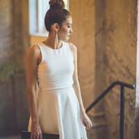 Classic Fit and Flare Dress in White