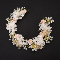 2017 New Handmade Luxury Prom Wedding Hair Accessories Hair Jewelry Bridal Flower Headdress Pearl Beads Headpieces For Brides