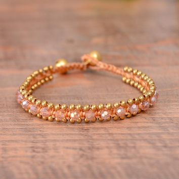 Crystal Beaded Bracelet with Adorable Brass Bell  - Bohemia Jewelry Party Gift 4 colors