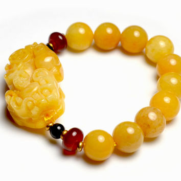 Yellow Honey Jade Fortune Pi Shou Tiger Amulet Bracelet
