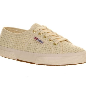 Superga Crochet Off White Canvas Lace Up Flat Sneakers Women's 6 M