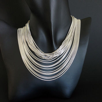Vintage Stefani St Jacques Multi-Strand Snake Chain Choker, .925 Italy, Rhodium Plate, 120 grams