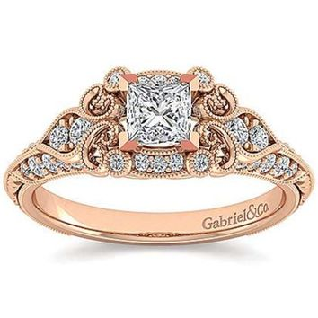 "Gabriel ""Halsey"" Victorian Style Filigree Diamond Halo Engagement Ring"
