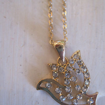 Gold Dove Necklace - Gold Rhinestone Dove Necklace - Rhinestone Dove Necklace - Gold Bird Necklace - Gifts - Jewelry