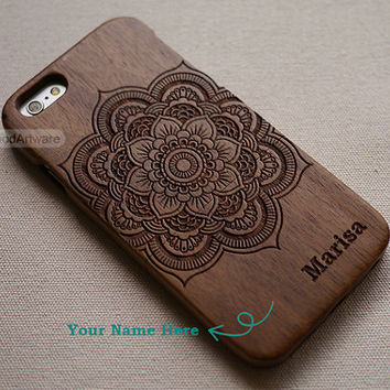 Mandala iPhone 6 case, Wood iPhone 5 case, mandala iPhone 5S case, Wood iPhone 5C case, mandala iPhone 4 case, Custom Wood iPhone case - B24