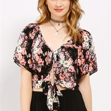 Floral Patterned Crop Top