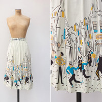 1990s Skirt - Vintage 90s does 50s Novelty Print Skirt - Montmartre Skirt