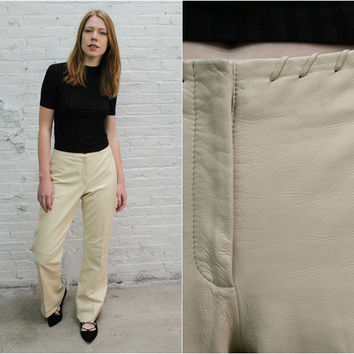 vintage Cache off white leather flare pants / cream leather pants / ivory wide leg flare pants