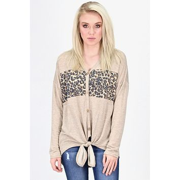 Leopard Contrast Button Down + Tie Top {Oatmeal}