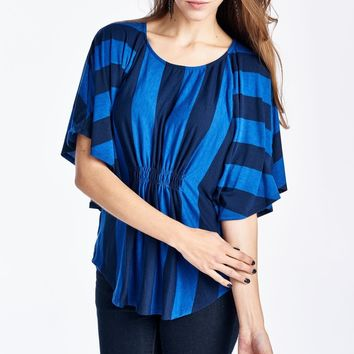 Women's Wide Stripe Cape Sleeve Top