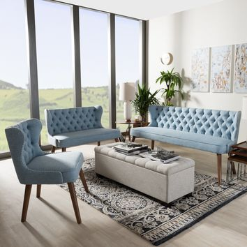Baxton Studio Scarlett Mid-Century Modern Walnut Brown Wood and Light Blue Fabric Upholstered Button-Tufting with Nail Heads Trim Livingroom 3-Piece Sofa Set Set of 1