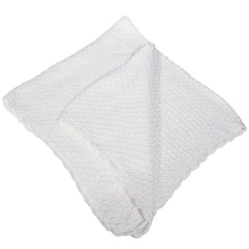 Popcorn Knit White 100% Cotton High Quality Shawl Blanket (Infant Boys or Girls)