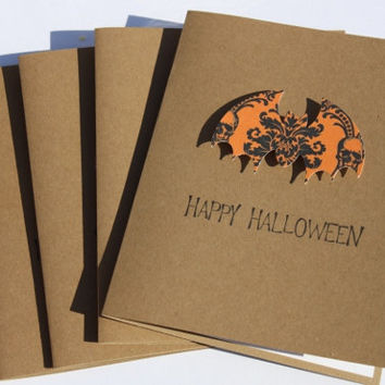 Halloween Bat Cards, Set of 4
