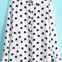 White Hats Print Chiffon Pointed Flat Collar Long Sleeve Blouse