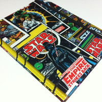 Handmade Fabric Star Wars Comic Book Covers Journal Notebook Diary - Coptic Stitched - Medium
