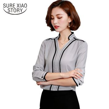 Office Lady Top Blusas 2017 Spring Fashion Women Long Sleeve Chiffon Blouse Female Casual Solid Color Shirt  921B 30