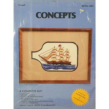 Ship in a Bottle - Crewel Embroidery Kit