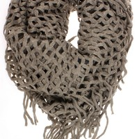 "DRY77 Knitted Fishnet Chain Loop Eternity Infinity Scarf, Brown, 27"" x 50"""