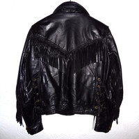 Vintage 70s Black Leather Fringe Jacket - Small Womens - Biker Jacket - Easyrider - Black Leather Jacket -