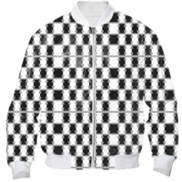 BLACK AND WHITE SQUARED ABSTRACT Bomber Jacket