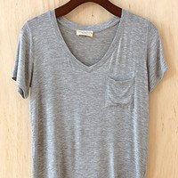 Perfectly Imperfect One-Pocket Shabby Tee, Heather Gray