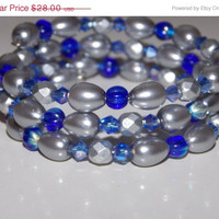 33%OFF Silver Pearl and Cobalt Wrap Bracelet