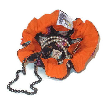 Drawstring Travel Jewelry Pouch / Satchel - Navy with Purple Teal and Orange Owls and Orange Flannel