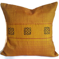 Yellow Pillow, Luxury Pillow, Silk Cushion Cover,16X16 Pillow Cover, Boho Pillow, Accent Pillow, Designer Pillow, Pillow Sham, Euro Sham