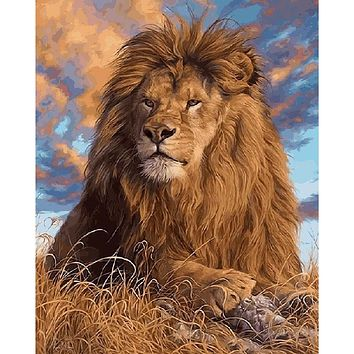 Frameless Lions Animals DIY Painting By Numbers Handpainted Oil Painting On Canvas Living Room Wall Art Picture Artwork 40x50cm