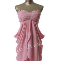Sweetheart with beadings pleated Knee-length  Evening/Party/Homecoming/cocktail dress/Bridesmaid/Formal Dress