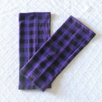 Purple and Black Checked Baby Leg Warmers Girl, Toddler Leg Warmers, Purple Toddler Leggings, Girl Boot Socks, Footless Sock, Baby Boot Cuff