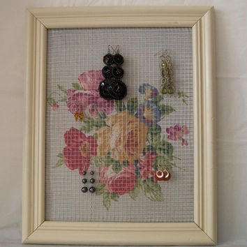 Almond Chic Repurposed Picture Frame into Earring Holder