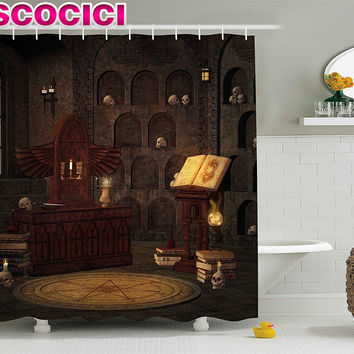 Gothic Decor Shower Curtain Chamber of Secret Rite with Skulls on the Wall Sacred Sorcery Spell Image Fabric Bathroom Decor Set
