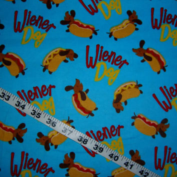 Dachshund Flannel fabric Wiener dogs hotdogs puppy cotton print quilt sewing material to sew for crafting by the yard BTY