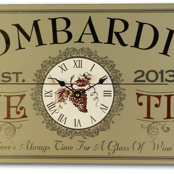 Personalized Wine Time Clock Vintage Style Sign