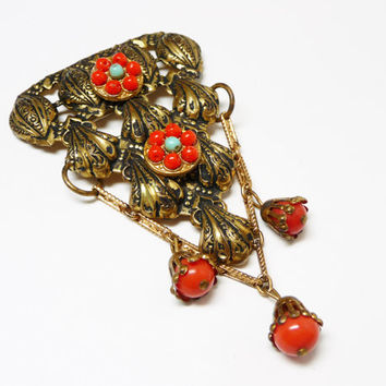 Art Deco Red & Gold Brooch - 1930's Pin with Dangling Beads -  Blue and Red Flowers - Goldtone Shells - Vintage Early Century Jewelry