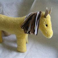 Handmade Yellow Pony, Horse, Plush Stuffed Animal, Child Safe