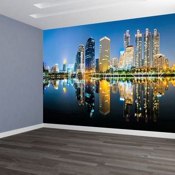 City at Night Scene Custom Designed Wallpaper Peel and Stick