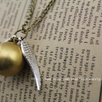 silver wings bronze ball Harry Potter and the Deathly Hallows - Golden Snitch Necklace