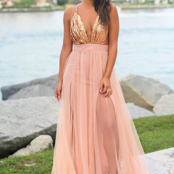 Rose Gold Tulle Maxi Dress with Sequin Top