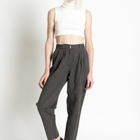 Vintage 80s Black and White Striped High Waist Pleated Linen and Cotton Trousers | 2