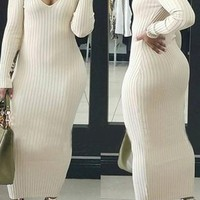 White Striped Plunging Neckline Long Sleeve Knitwear Bodycon Maxi Dress