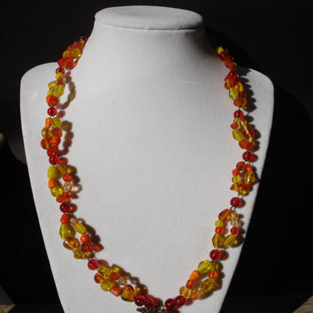 Fall Elegant Leaf Double Necklace in antique bronze/copper and gold - double beaded necklace - yellow - orange - red - glass beaded necklace