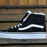 Vans Black High Top Leather With Fur Warm Casual Canvas Sneakers Sport Shoes