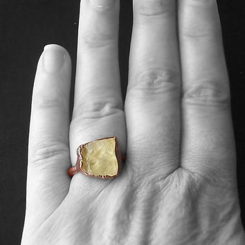 Raw Citrine Crystal Ring Gemstone Ring Cocktail Ring Birthstone Size 6 November Golden Rough Mineral Citrus Sunshine Yellow Artisan