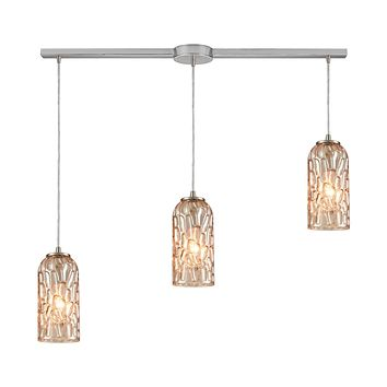 Ansegar 3-Light Linear Mini Pendant Fixture in Satin Nickel with Amber-plated Textured Glass