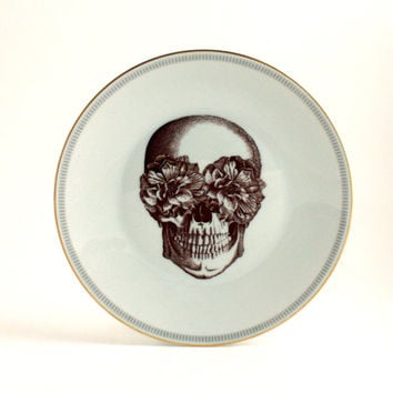 Altered Sugar Skull Plate Antique Porcelain Decorative House Decor White Flower Mexico Halloween Human