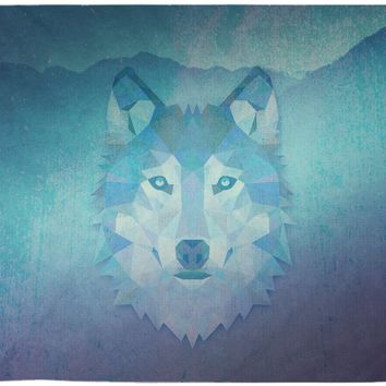 Wolf Tapestry Blue Purple Distressed Tapestry Wall Hanging Meditation Yoga Grunge Hippie
